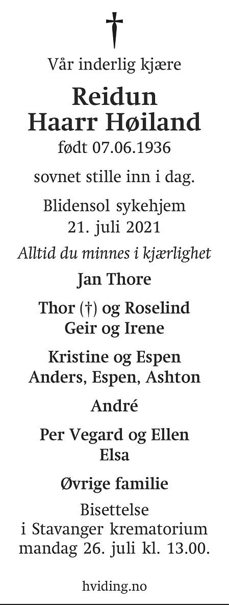 Reidun Haarr Høiland Dødsannonse