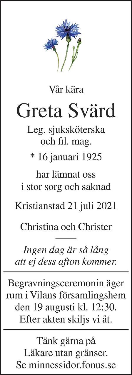 Greta Svärd Death notice