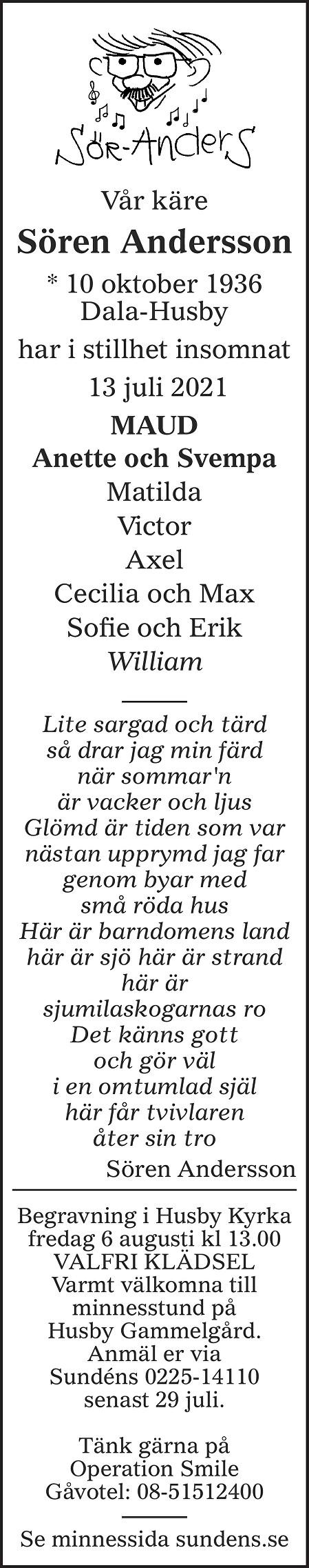 Sören Andersson Death notice