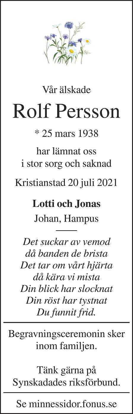 Rolf Persson Death notice