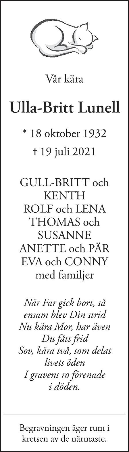 Ulla-Britt Lunell Death notice