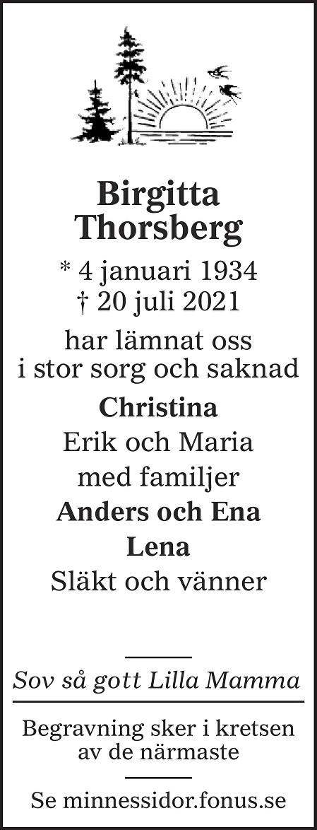 Birgitta  Thorsberg Death notice