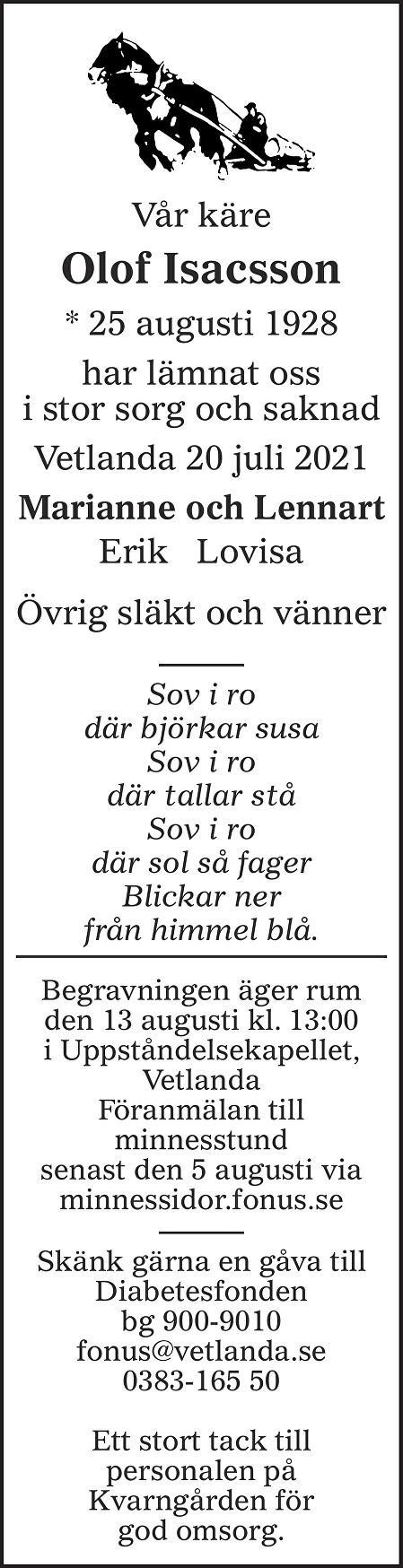 Olof Isacsson Death notice