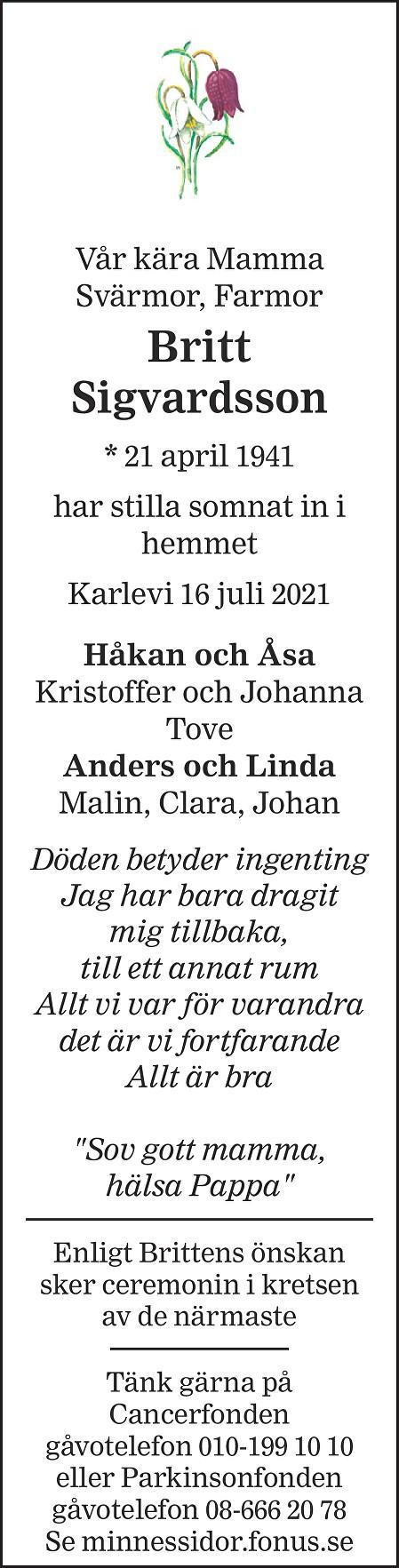 Britt Sigvardsson Death notice