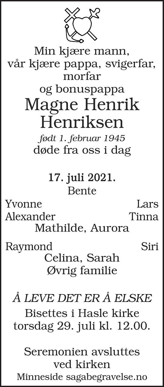 Magne Henrik  Henriksen Dødsannonse