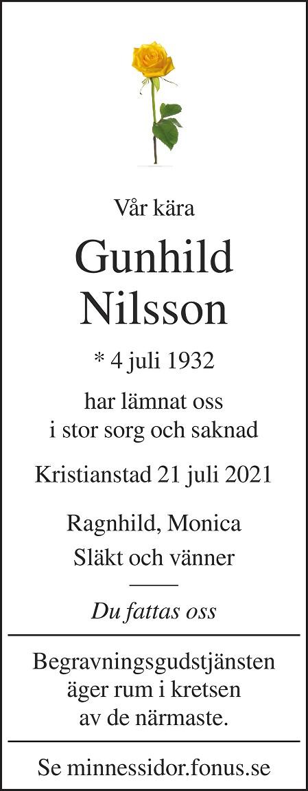 Gunhild Nilsson Death notice