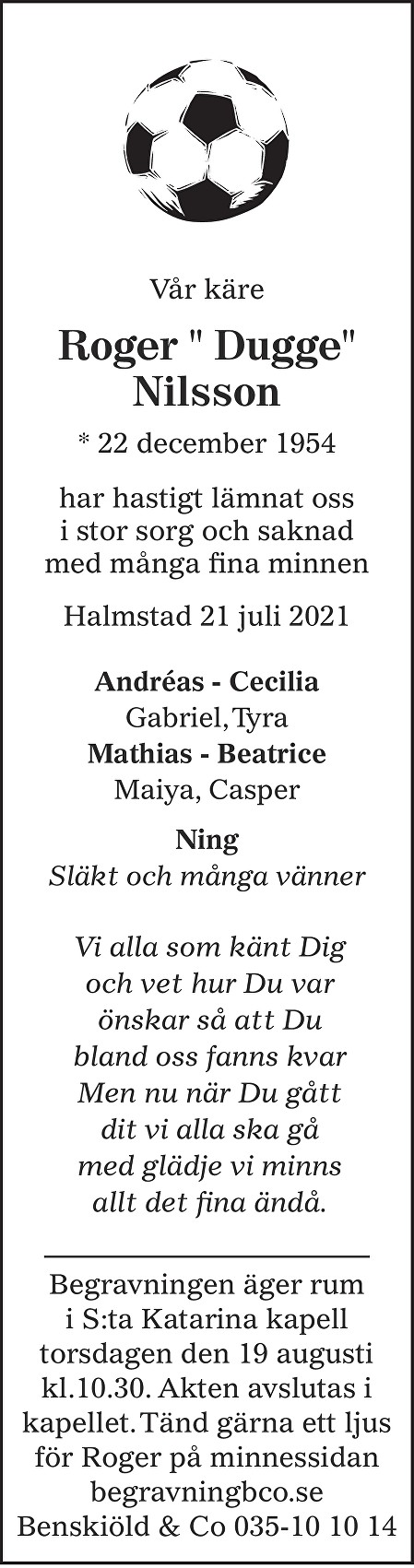 "Roger "" Dugge"" Nilsson Death notice"