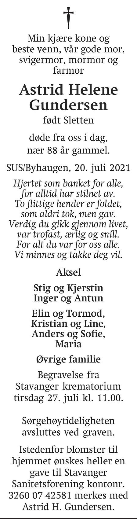 Astrid Helene  Gundersen Dødsannonse