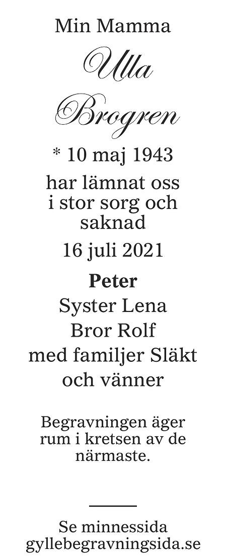Ulla Brogren Death notice
