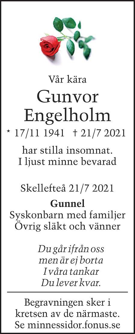 Gunvor Engelholm Death notice