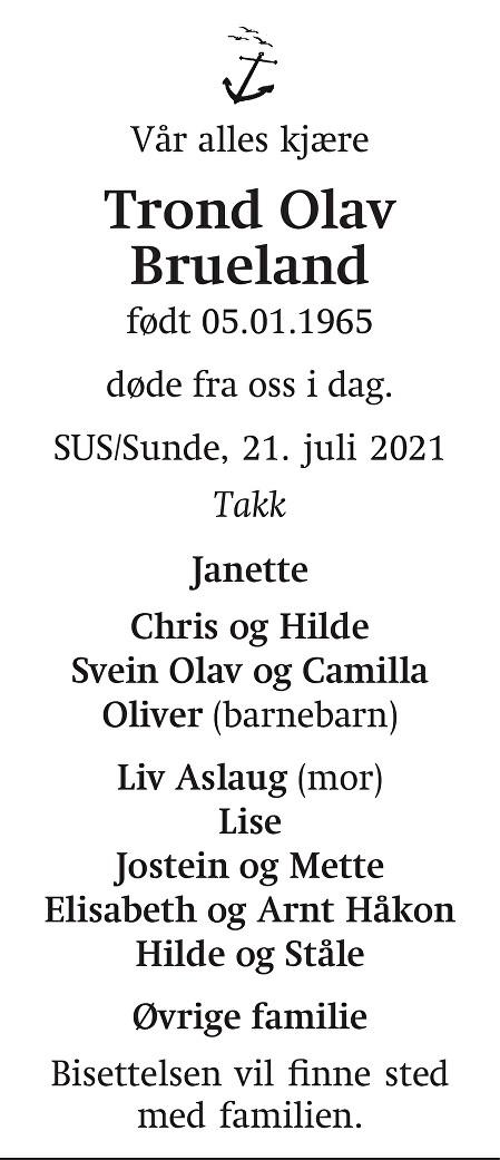 Trond Olav Brueland Dødsannonse