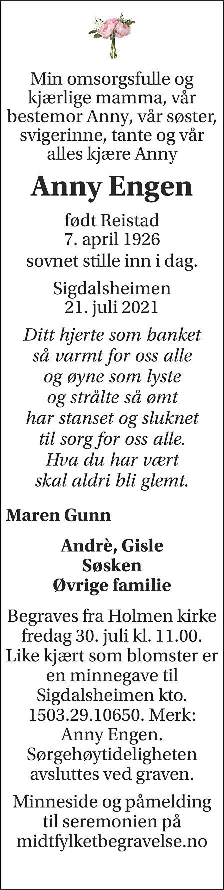 Anny Engen Dødsannonse