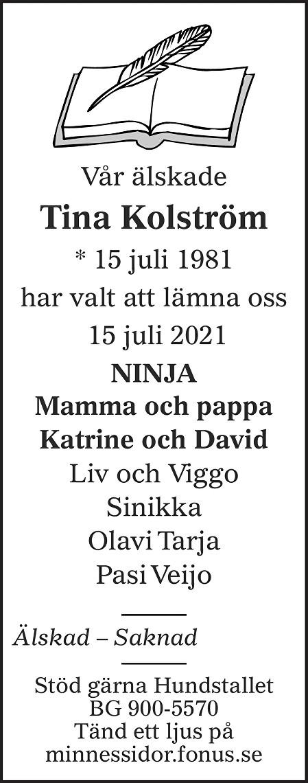 Tina Kolström Death notice