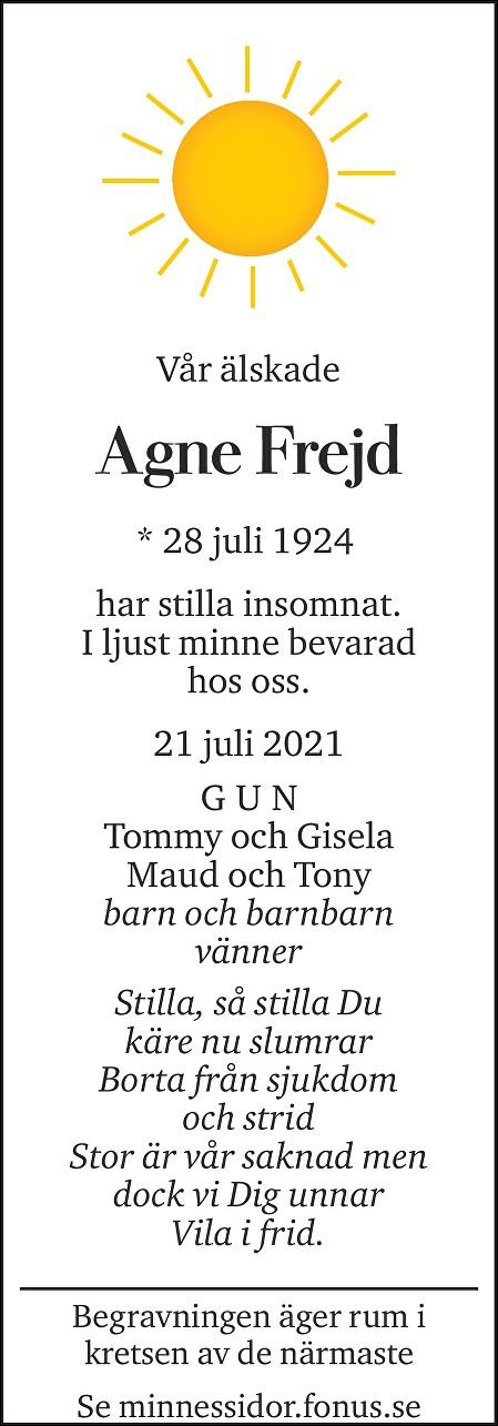Agne Frejd Death notice