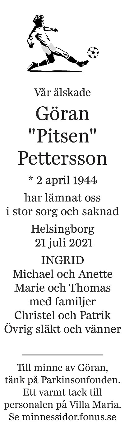 Göran Pettersson Death notice