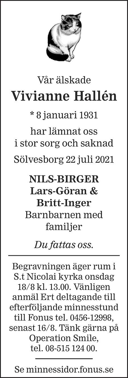 Viviann Hallén Death notice