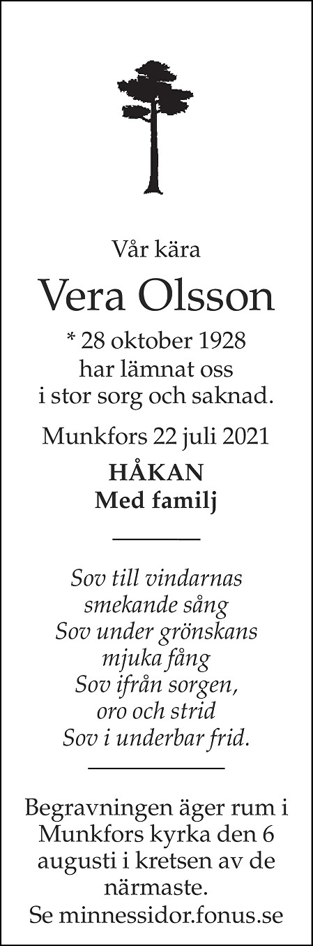 Vera Olsson Death notice