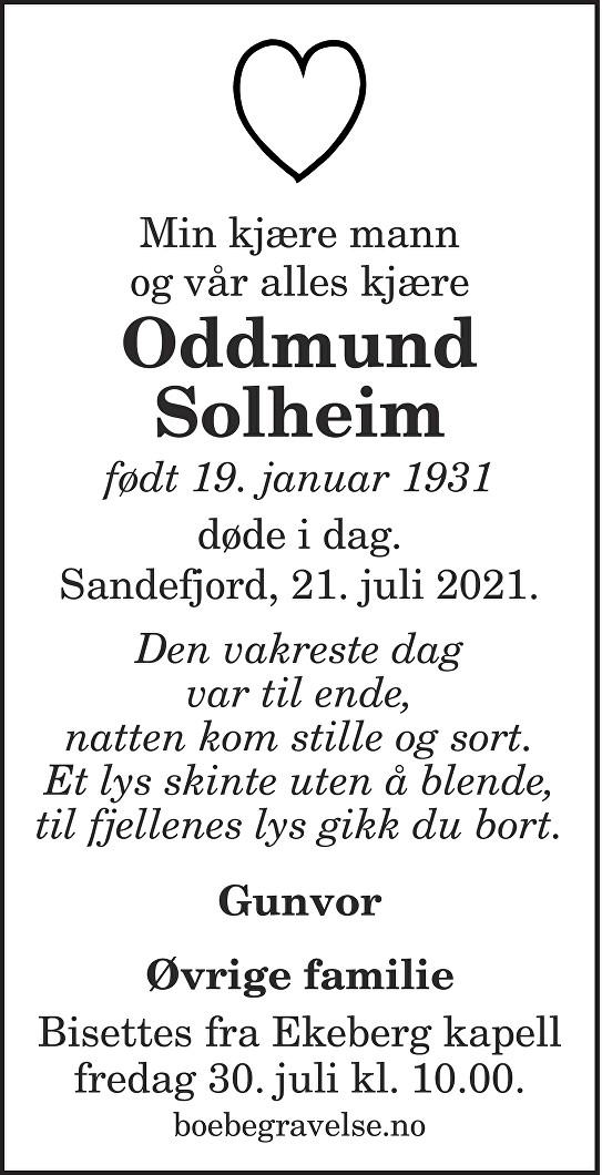 Oddmund Solheim Dødsannonse
