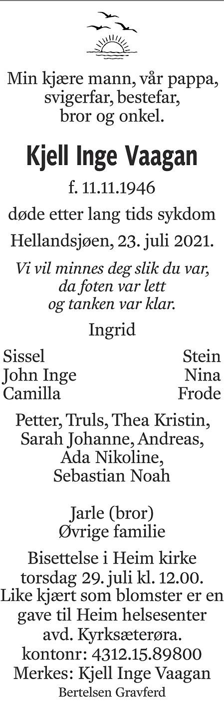 Kjell Inge Vaagan Dødsannonse