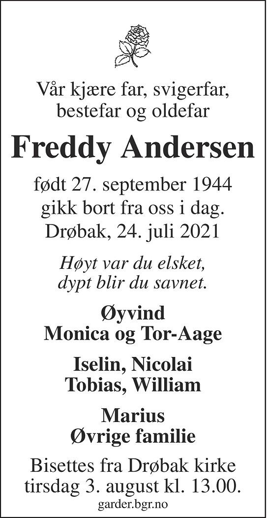 Hans Freddy Andersen Dødsannonse