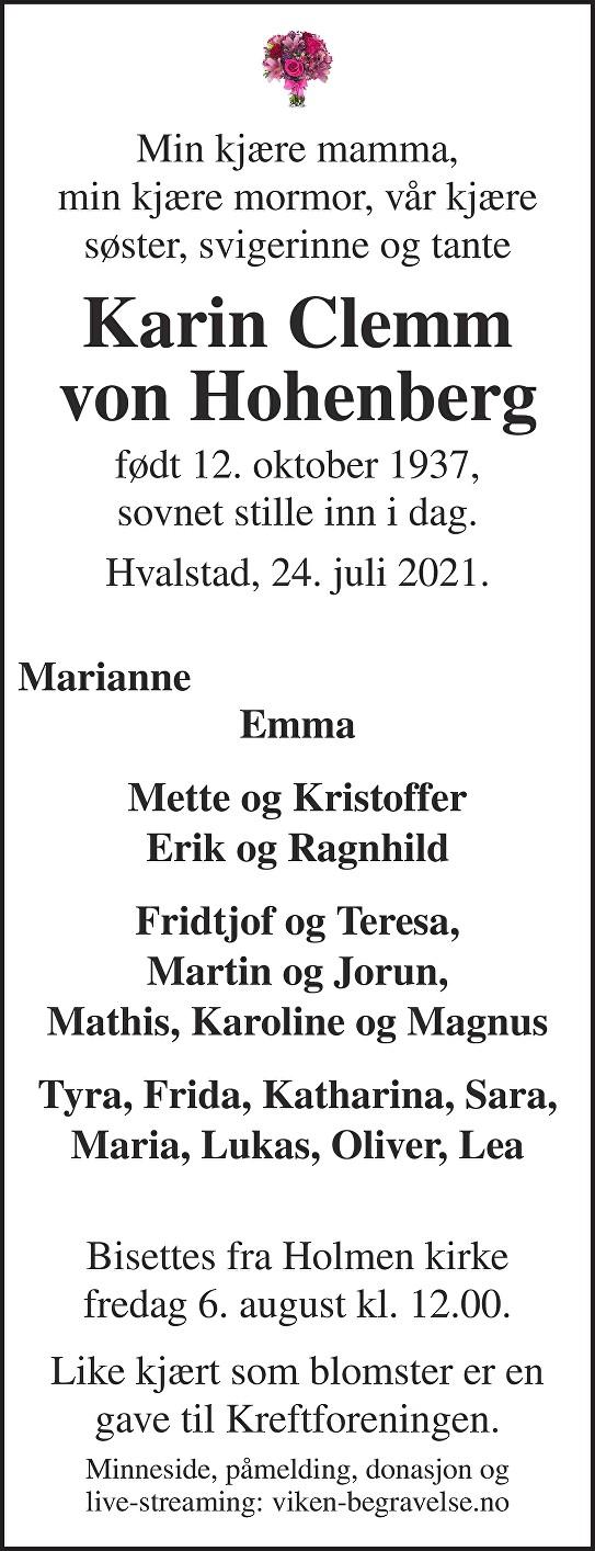 Karin Clemm von Hohenberg Dødsannonse