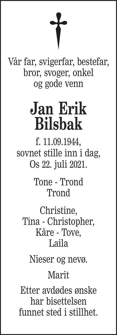 Jan Erik Bilsbak Dødsannonse