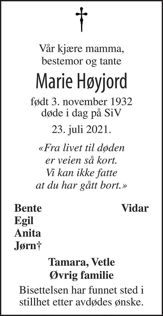 Marie Høyjord Dødsannonse