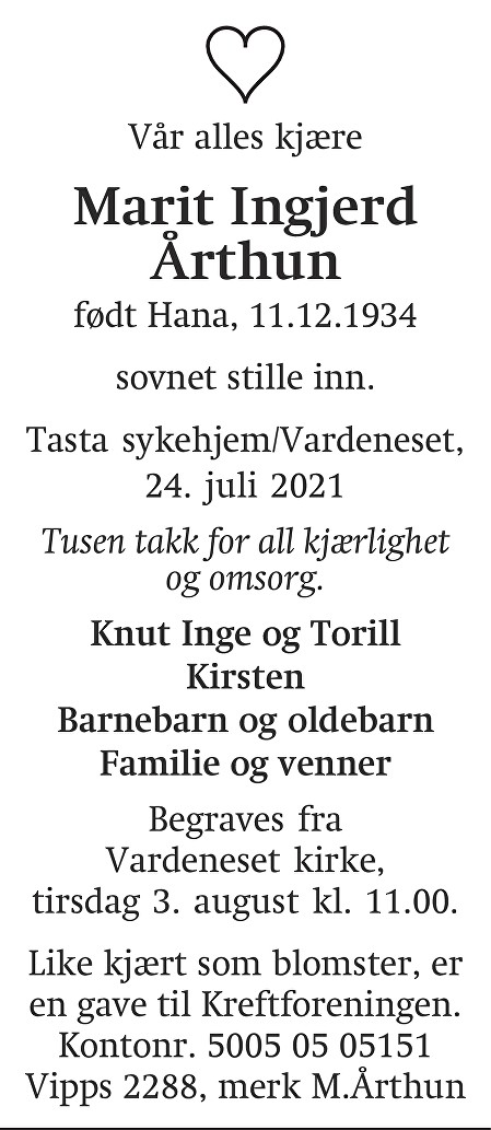 Marit Ingjerd Årthun Dødsannonse