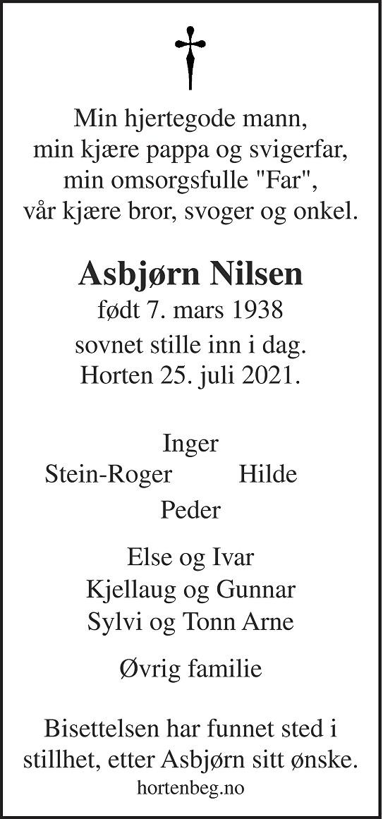 Asbjørn Andreas Nilsen Dødsannonse