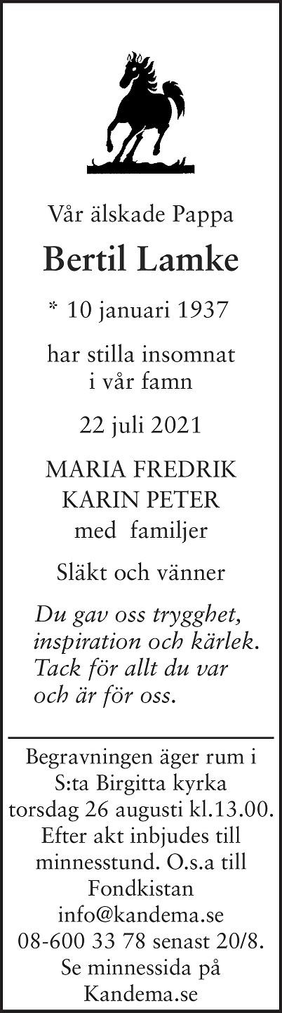Bertil Lamke Death notice