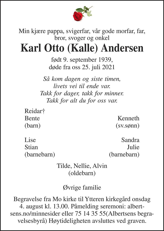 Karl Otto Andersen Dødsannonse