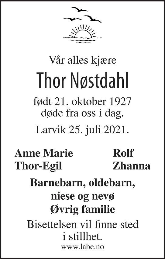 Thor Kåre Nøstdahl Dødsannonse