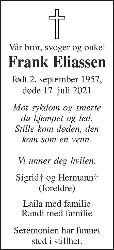Frank Eliassen Dødsannonse