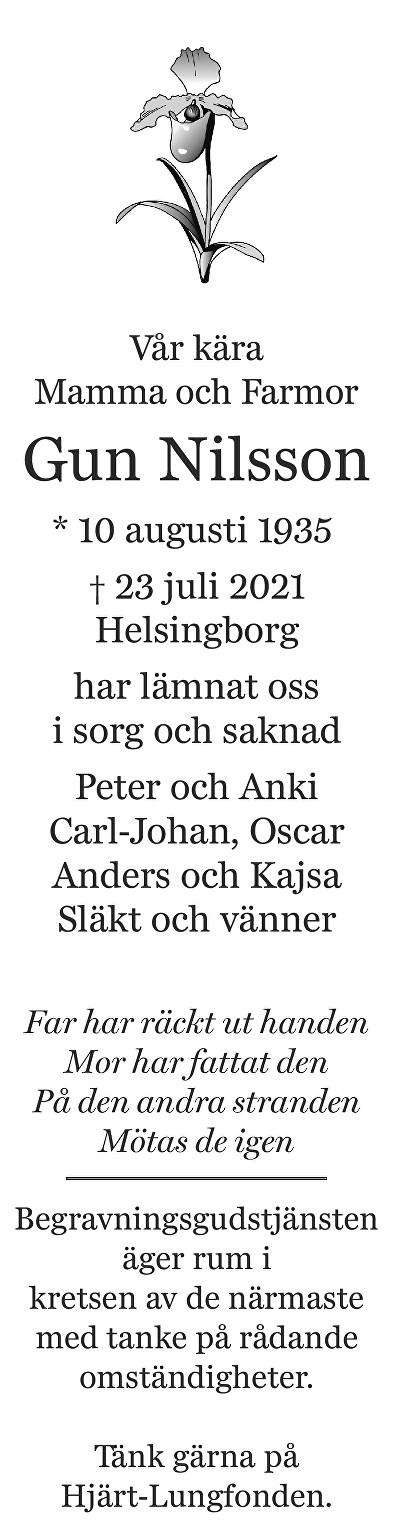 Gun Nilsson Death notice
