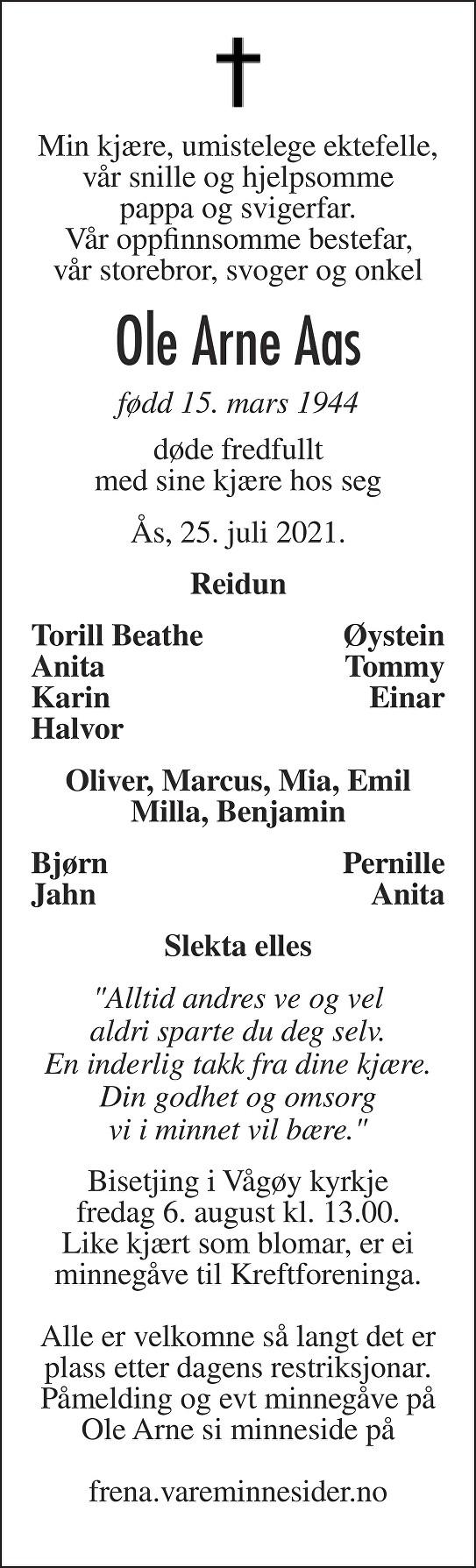 Ole Arne Aas Dødsannonse