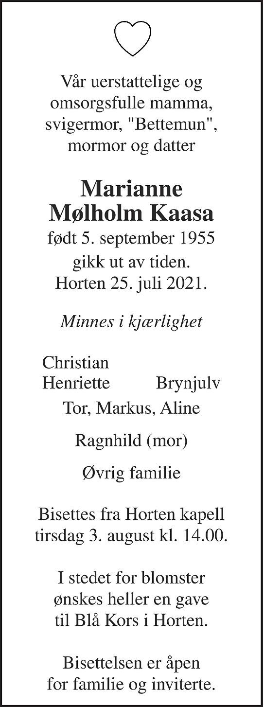 Marianne Mølholm Kaasa Dødsannonse