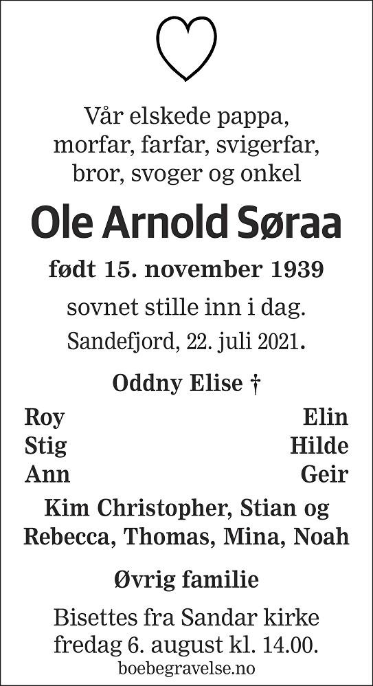 Ole Arnold Søraa Dødsannonse