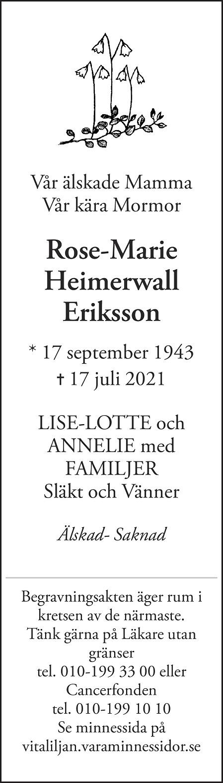 Rose-Marie  Heimerwall Death notice