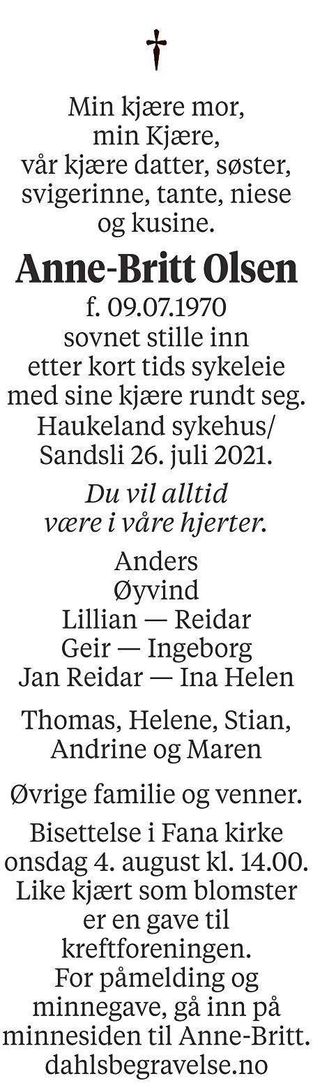 Anne-Britt Olsen Dødsannonse