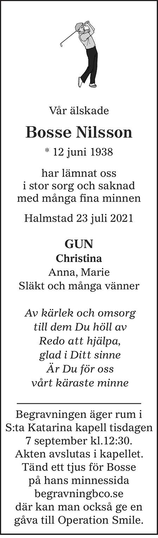 Bosse Nilsson Death notice