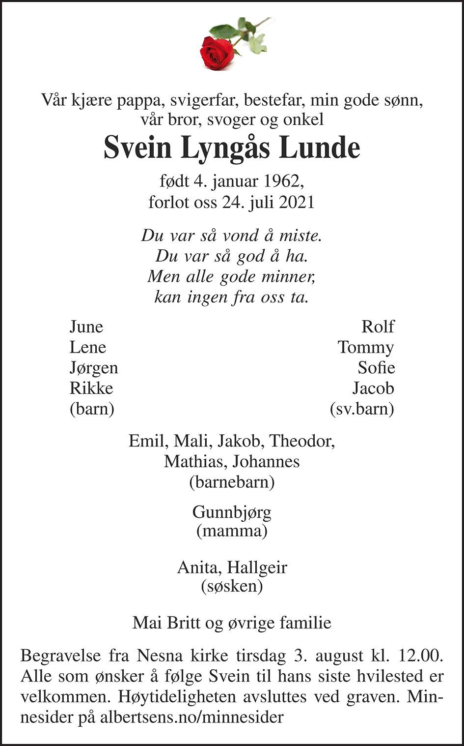 Svein Lyngås Lunde Dødsannonse