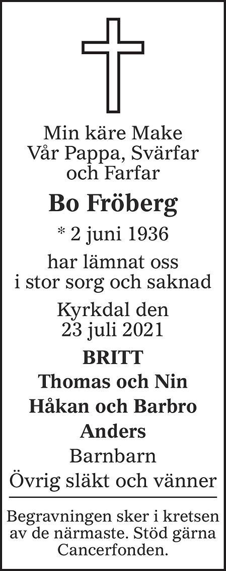 Bo Fröberg Death notice