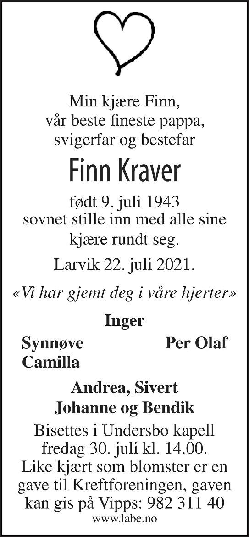 Finn Kraver Dødsannonse