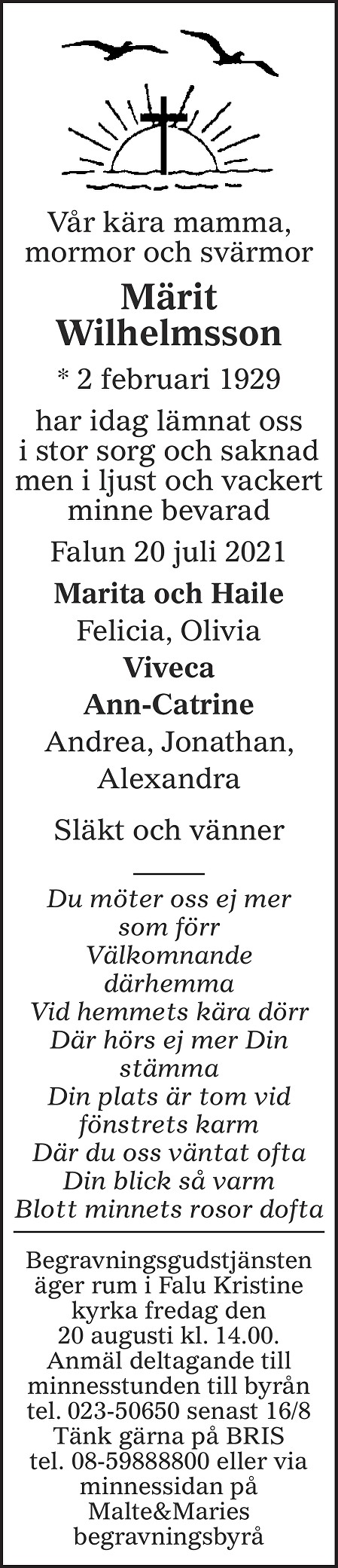 Märit Wilhelmsson Death notice
