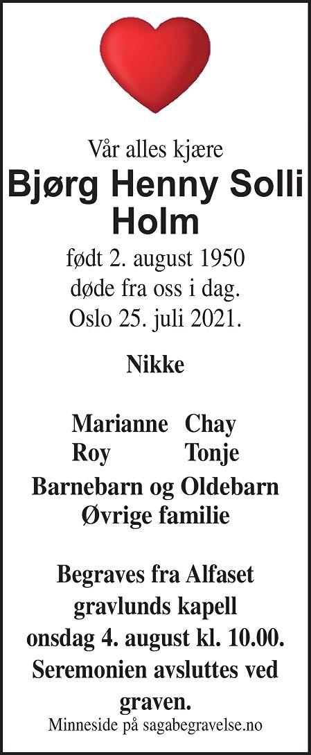 Bjørg Henny Solli Holm Dødsannonse