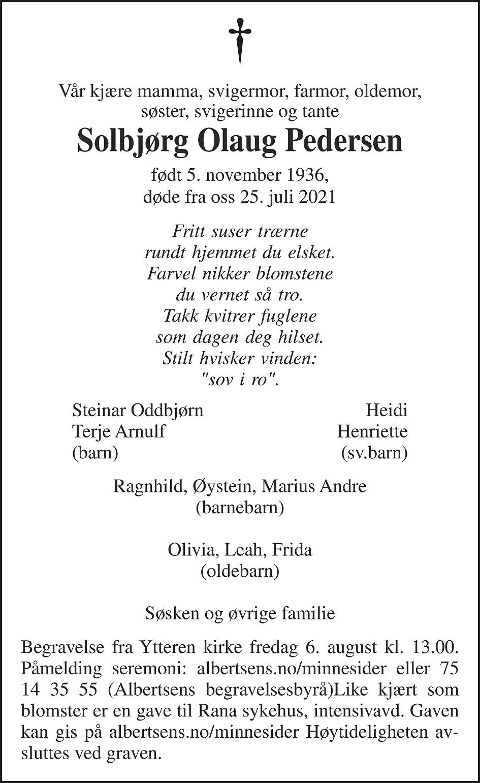 Solbjørg Olaug Pedersen Dødsannonse