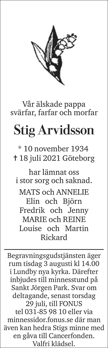 Stig Arvidsson Death notice