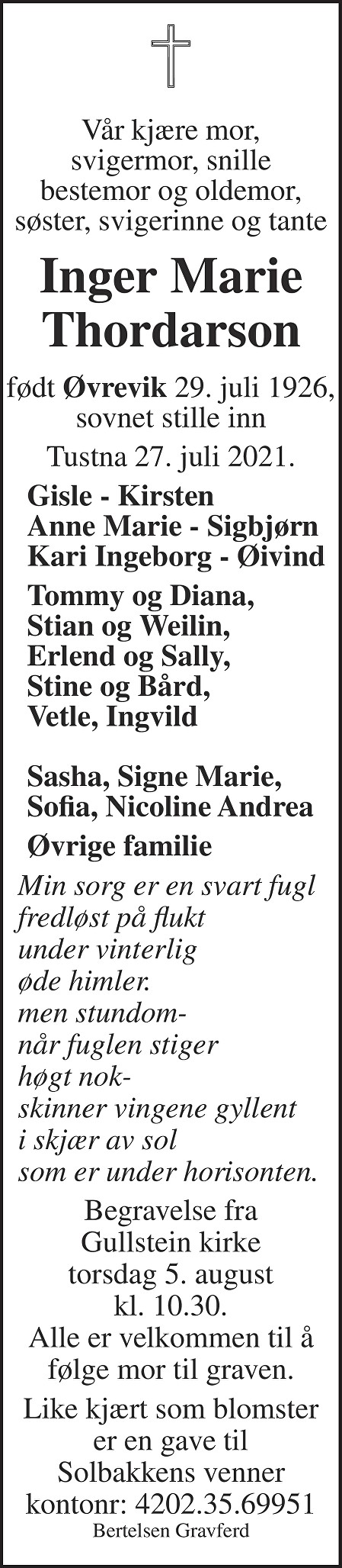 Inger Marie Thordarson Dødsannonse