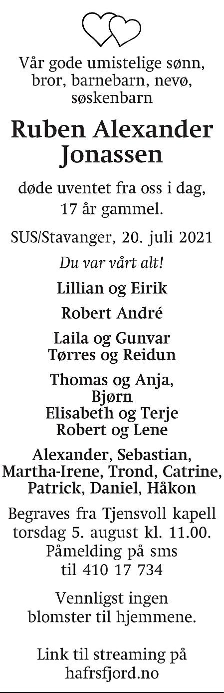Ruben Alexander Jonassen Dødsannonse