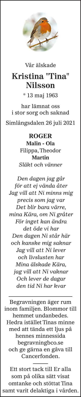 "Kristina ""Tina"" Nilsson Death notice"